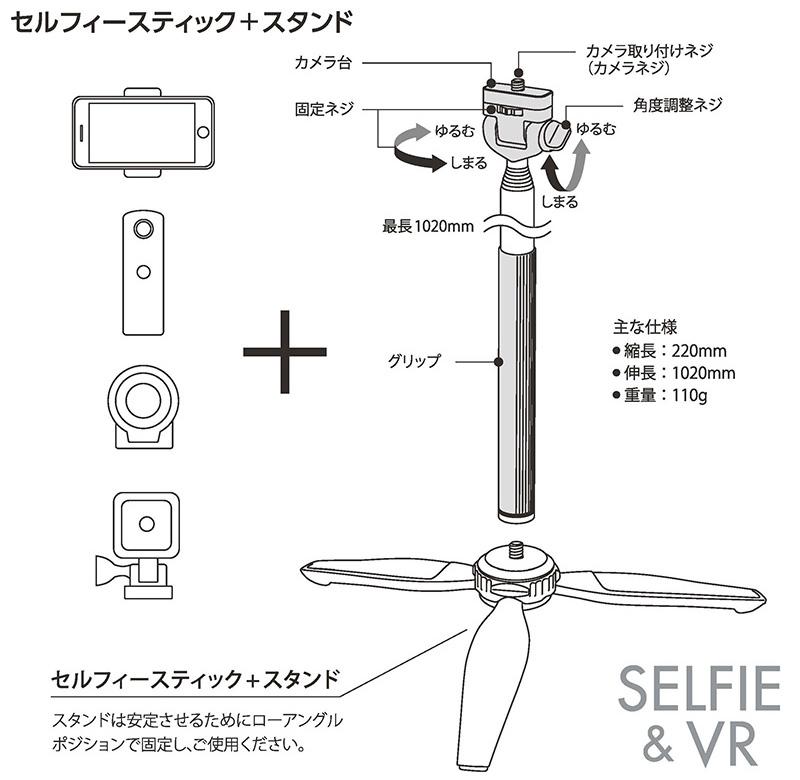 VRカメラ・アクションカムなど、あらゆるカメラを装着可